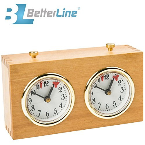(BETTERLINE Professional Analog Wood Chess Clock Timer - Wind-Up Mechanism - No Battery Needed)