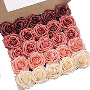 Ling's moment Artificial Flowers Ombre Colors Foam Rose 5 Tones for DIY Wedding Bouquets Centerpieces Arrangments Decorations (Fragrant Burgundy) 73