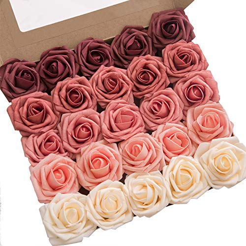 (Ling's moment Artificial Flowers Ombre Colors Foam Rose 5 Tones for DIY Wedding Bouquets Centerpieces Arrangments Decorations (Fragrant Burgundy))