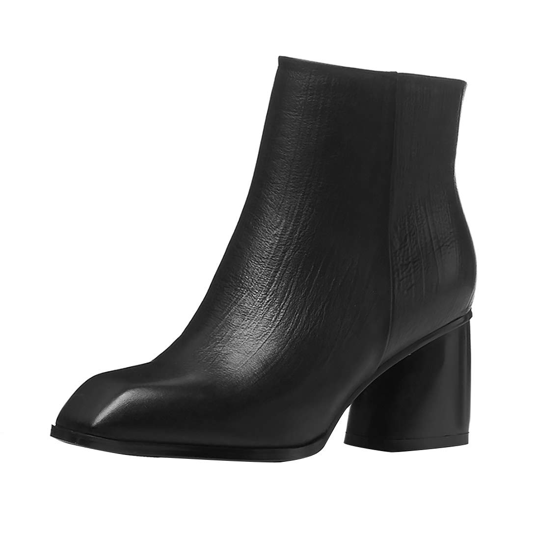 Black MAYPIE Womens Toannua Leather Zipper Ankle Boots