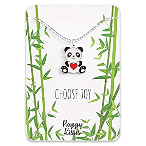 Happy Kisses Panda Necklace Gift – Cute Panda Heart Pendant – Charm Jewelry for Women, Teens, Girls and Kids – with Message Card