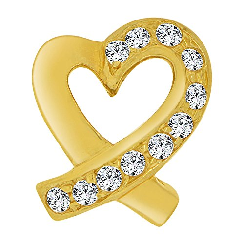 14k Yellow Gold, Contemporary Design Open Heart Slider Pendant Charm Created CZ Crystals