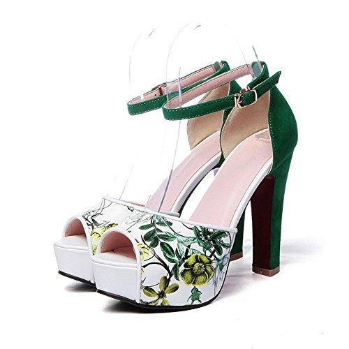 imitation Animal balamasa floral cuir pour Motif Sandales femme Vert vert 44CUXq
