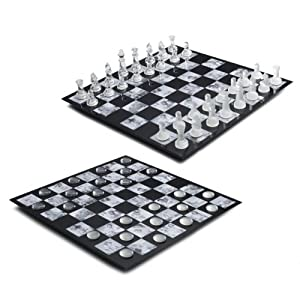 Melannco Glass Chess/Checkers, Black