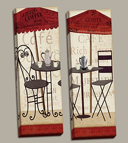 Lovely Cafe Bistro Table and Coffee Panels; Kitchen Decor by Veronique Charron; Two 8x20in Stretched Canvases