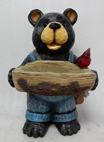 Hi- Line Gift 75619-E Bear Holds Bird Bath with Cardinal - Birdbath Cardinal