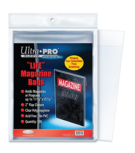 "Ultra PRO Life Magazine 11-1/8 x 15-1/8"" Bags (100 Count Pack), Small, Clear"