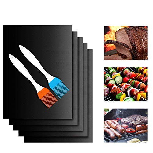 Grill Mats Dishwasher Safe Non Stick BBQ Baking Sheet 5 Pack Black Heavy Duty Reusable Magic Clean Grill Set PTFE Teflon Fiber Roast Sheets Indoor Outdoor Grilling Mat for Gas Charcoal Electric Grill