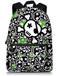 Jeremysport Pink Skull Canvas laptop backpack 15 Backpack Boys Girls