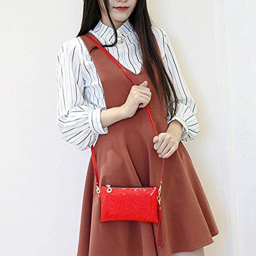 Crossbody Women Bag Ecotrump Coin Zipper Shoulder Mini Wristlets PU Red Clutch Sequins q0wwx6Cd