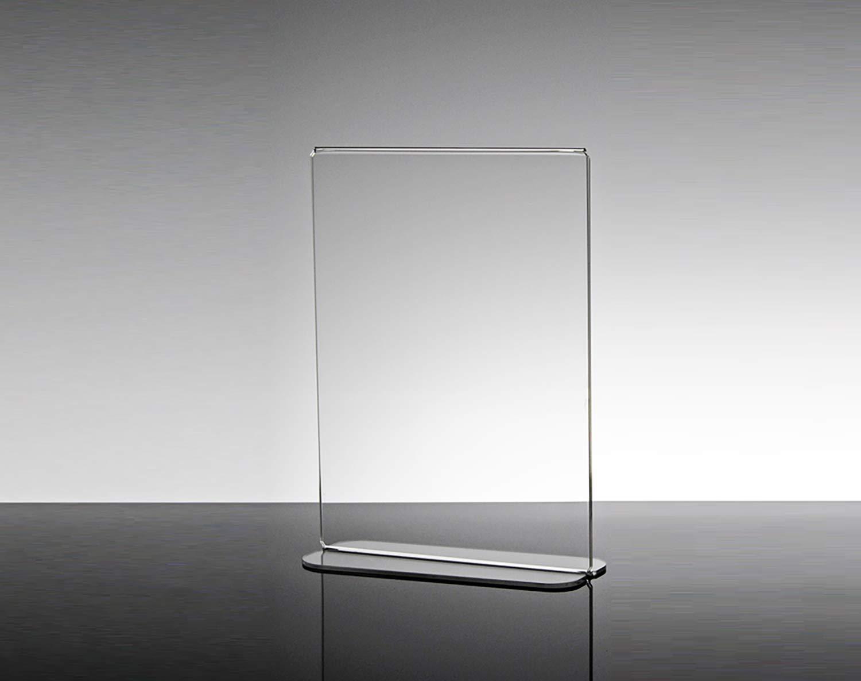 Espositore porta menù bifacciale per bar e ristoranti in plexiglass trasparente Salice piccolo (15 x 6.5 x 21.5 cm) per menù, fogli, listini e bruchure formato A5 Slato