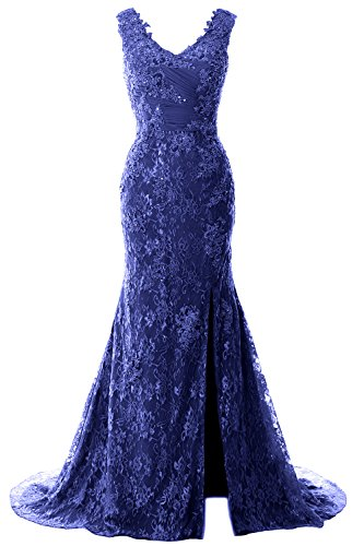 Royal Wedding Blue Mermaid MACloth Evening Neck Women Dress Lace Straps V Party Gown Formal xT171qHw