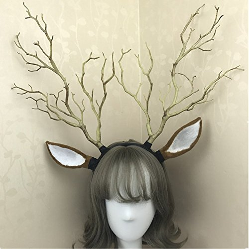 Reindeer Elk Antlers & Tree Branch Hair band Headdress Forest Angel Fairy Photography Christmas Carnival Halloween Fancy dress party Decor (Brown) (Brown Wig Angel)