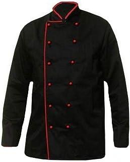 Grevotex Kochjacke Schwarz mit Paspel Rot