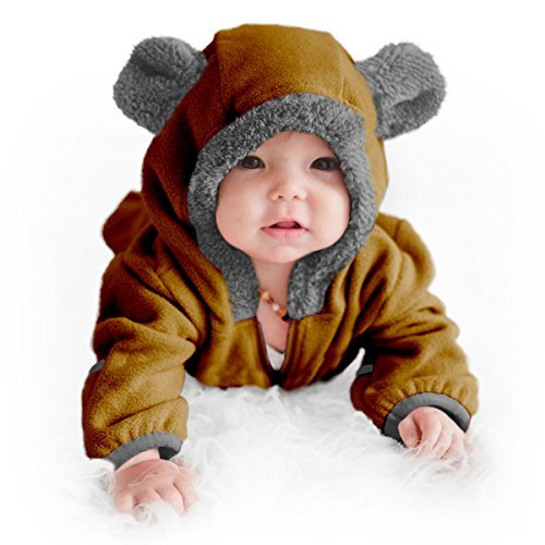 Funzies Baby Bunting Fleece Hooded Romper Bodysuit (BearBrown6-12m)