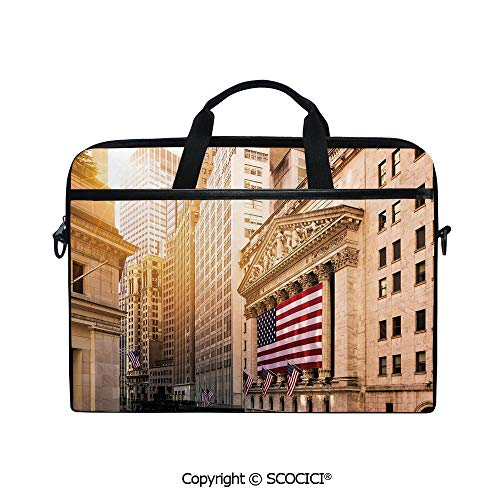 Printed Laptop Bags Notebook Bag Covers Cases Famous Wall Street Building New York Stock Exchange with Flags Urban with Adjustable Strip and Zipper Closure
