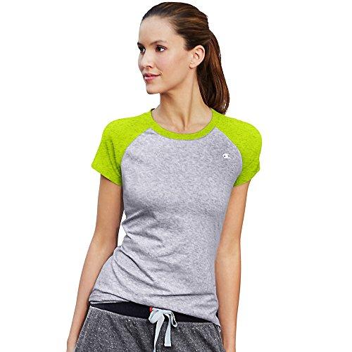Champion Women's Power Cotton Raglan Tee, Oxford/Sweet Green Heather, Small (Champion Sweet Shirts)