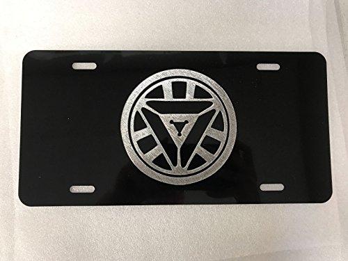 Ironman Arc Reactor Logo Car Tag Diamond Etched on Aluminum License Plate Logo Arc