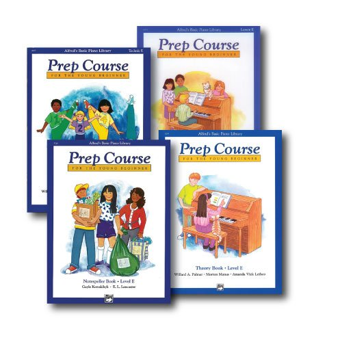 Alfred's Basic Piano Prep Course Level E - Four Book Set - Includes Lesson, Theory, Technic, and Notespeller books (Piano Basic Book Course Notespeller)