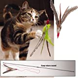 GoCat Da Bird Pull Apart Rod and Bird Cat Feather Toys, Assorted Colors