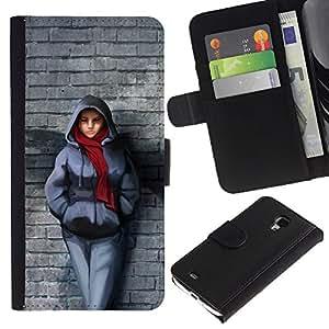 KingStore / Leather Etui en cuir / Samsung Galaxy S4 Mini i9190 / Pared de ladrillo de la bufanda de invierno Outfit Ciudad muchacha del estilo
