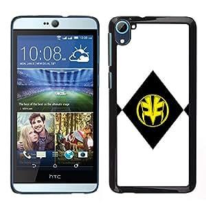 A-type Arte & diseño plástico duro Fundas Cover Cubre Hard Case Cover para HTC Desire D826 (Negro y máscara amarilla)
