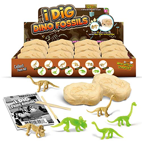 KARAZZO 12pcs Dinosaur Eggs Excavation Set DIY Dino Eggs Digging Kit Archaeology Science Stem Gift Model Educational Toy for Kids Over 6+ Years (Style-3)