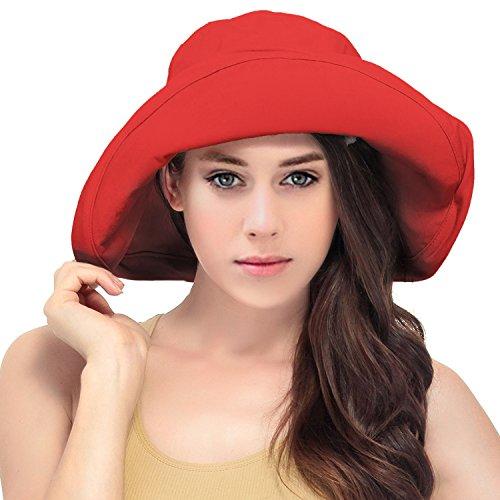 Women's Summer Cotton Bucket Beach Hat w/ Wide - Red Hat Floppy