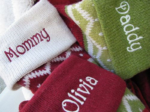 SET OF 5 Oversized 28'' Knitted Christmas Stockings FairIsle Knit + Monogram - CHOOSE YOUR DESIGNS - Embroidered with Choice of YOUR Names by CHRISTMAS-STOCKINGS-by-STOCKINGFACTORY (Image #3)