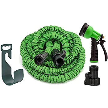 GrowGreen Garden Hose, 50 Feet, Strongest, Hose, Water Hose, Expandable Hose, Best Hoses, with Free 8-way Spray Nozzle, Rust-free, Watering Hose, Hanger and Shutoff Valve, Flexible Hose,