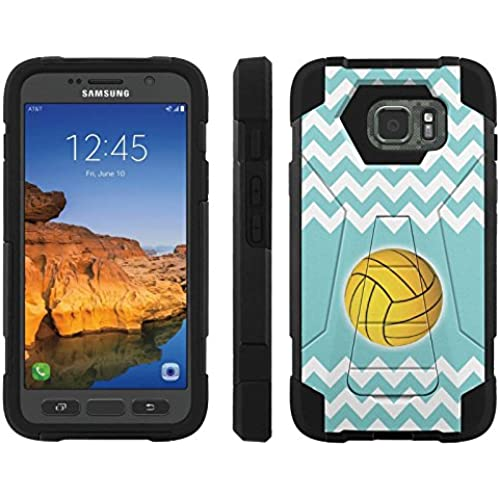 AT&T [Galaxy S7 Active] ShockProof Case [ArmorXtreme] [Black/Black] Hybrid Defender [Kickstand] - [Teal Chevron WaterPolo] for Samsung Galaxy Sales