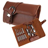 BestFire 11pcs Manicure Set Luxury/Deluxe Genuine Brown Leather Nail Care Personal Manicure & Pedicure Set, Manicure Travel & Grooming Set Kit, Nail Clipp