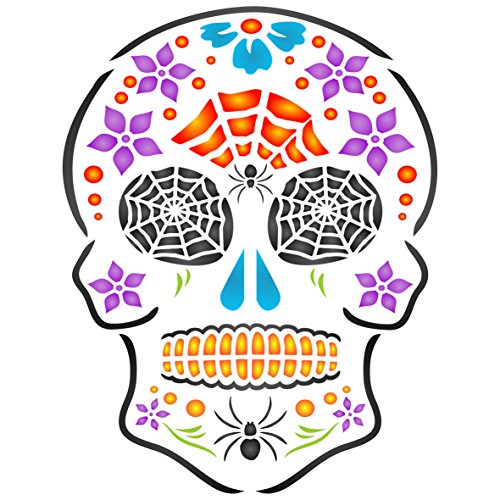 "Halloween Sugar Skull Stencil - (size 5""w x 6.5""h) Reusable Wall Stencils for Painting - Day of the Dead Decor Ideas - Use on Walls, Floors, Fabrics, Glass, Wood, and -"