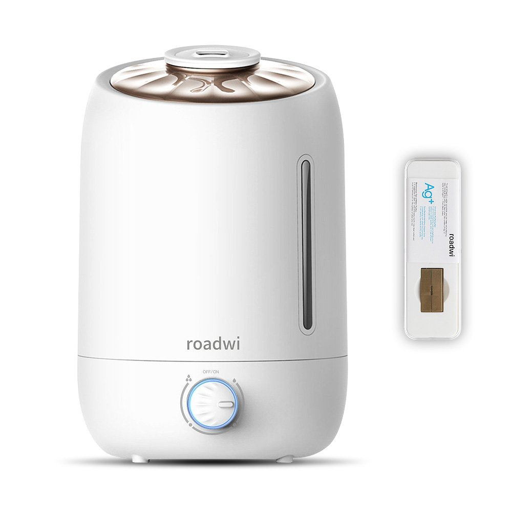 Roadwi Essential Oil Diffuser, 5L/1.3G Large Capacity Ultrasonic Humidifier, Running 20+ Hours, Adjustable Mist mode for Home Office Bedroom Living Room Yoga (FREE Silver Ion Water Purifier)