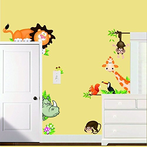 BIBITIME Jungle Wild Animal Vinyl Wall Sticker Decals for ...