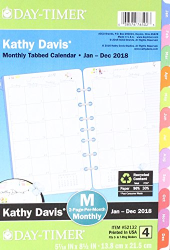 Day-Timer Two Page Per Month Planner Refill, January 2018 - December 2018, 5-1/2