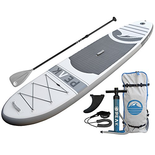 PEAK Inflatable Stand Up Paddle Board with Adjustable Paddle, Travel Backpack and Coil Leash, 128 x 31 x 6-Inches, White (Board Paddle Inflatable)