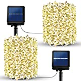 [Star Shape 120LED / 8 Modes] Solar String Lights, SEZAC 39Ft Solar Powered String Lights Solar Fairy Lights Outdoor/Indoor Copper Wire Decorative Lighting for Garden Party (Warm White & 2Pack)