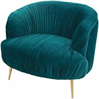 New Pacific Direct Alma Hollywood Glam Low Back Velvet Club Chair,Gold Legs,Turquoise Green