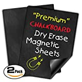 "#8: Magnetic Dry Erase Sheets | Black Blank 12"" x 16"" Chalkboard Look Magnet for Refrigerator 
