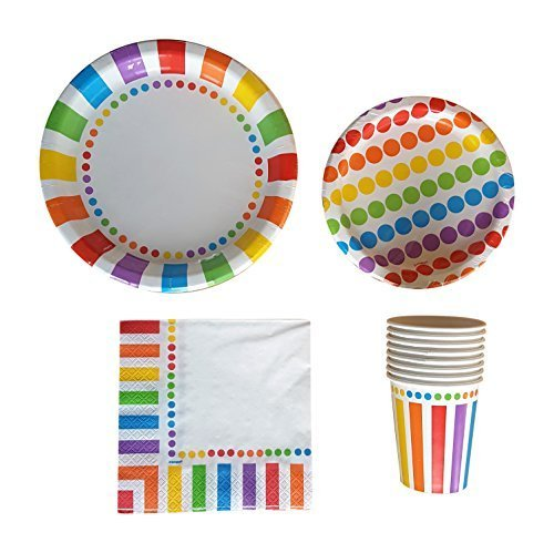 Rainbow Party Supplies Pack for 16 Guests - Including Dinner Plates, Dessert Plates, Cups, and Napkins by Colors of Rainbow