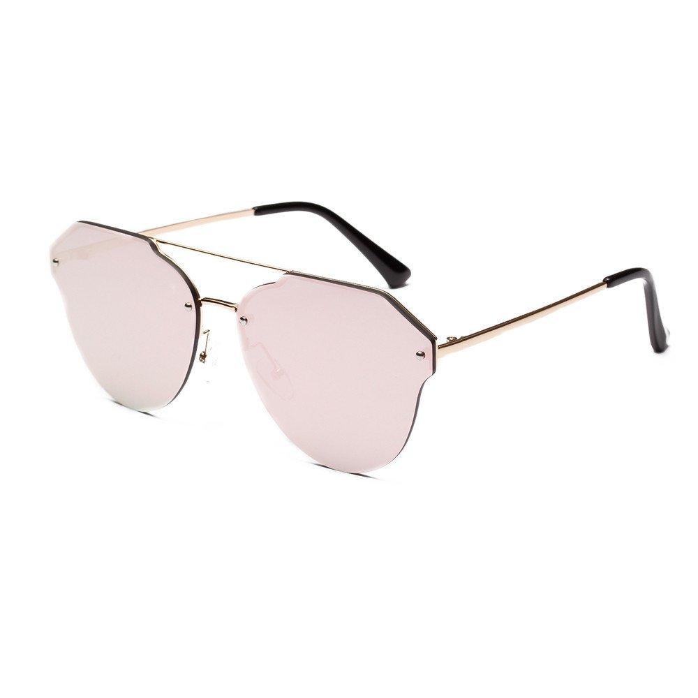 Damen Sonnenbrille Rahmenlos verspiegelt Retro Vintage Sunglasses