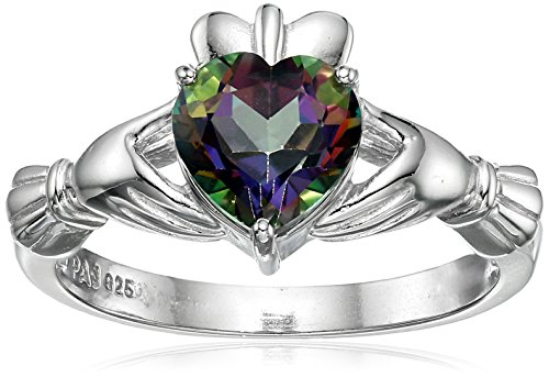 Rhodium Plated Sterling Silver Heart Shaped Mystic Fire Topaz 7mm Claddagh Ring, Size 6