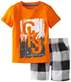 Calvin Klein Boys 2-7 Short Sleeve Tee With Plaided Short, Orange, 4T image