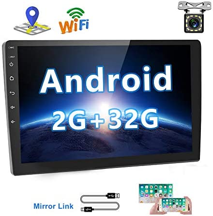 2G 32G Upgrade Hikity Double Din Android Car Stereo 10.1 Inch Touch Screen Radio Bluetooth WiFi GPS FM Radio Support Android iOS Phone Mirror Link with Dual USB Input Backup Camera