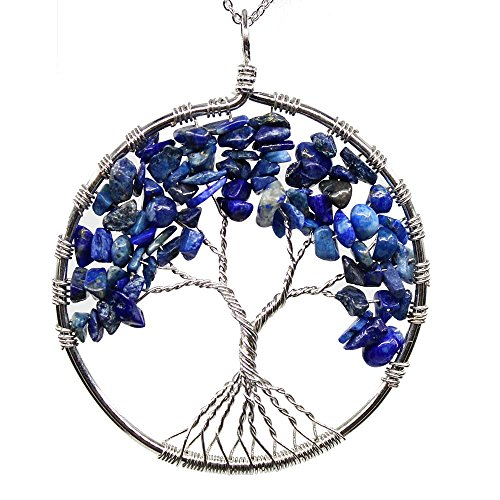KISSPAT Handmade Tree Of Life Gemstone Pendant Necklace With 26 Stainless Steel Chain, Chakra Jewelry Gift For Her