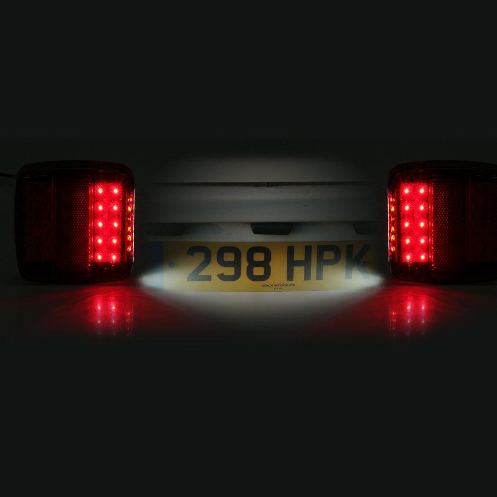 2Pcs 12V LED Rear Lights Lamps 5 Function Trailer Truck Van Caravan E-Mark