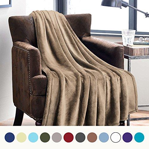 Flannel Fleece Luxury Blanket Camel Twin Size Lightweight Cozy Plush Microfiber Solid Blanket by Bedsure (Fleece Fabric Throw Blanket)