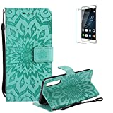 Funyye Strap Magnetic Flip Cover for Huawei P20 Pro,Premium Green Embossed Sunflower Pattern Folio Wallet Case with Stand Credit Card Holder Slots Case for Huawei P20 Pro,Shockproof Ultra Thin Slim Fit Full Body PU Leather Case for Huawei P20 Pro + 1 x Free Screen Protector