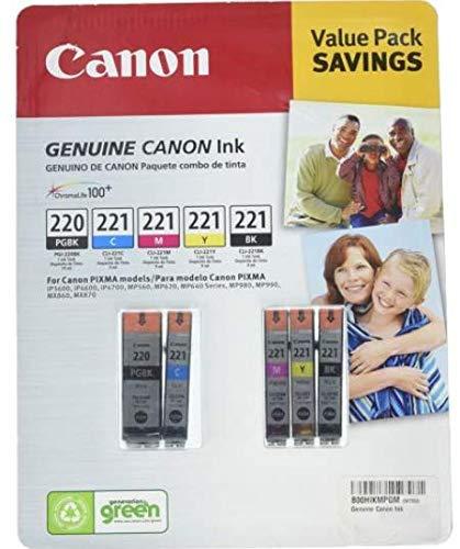 Genuine Canon PGi-220 Black and Cli-221 4-Color Bulk Packaging Canon Pixma Mx860 Colour
